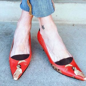 Vintage Red Leather Pointy Shoes