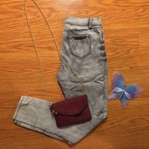 Gray Acid Washed Denim Jeans