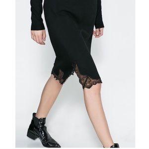 ZARA Studio Pencil Skirt w Lingerie Lace Trim