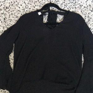Black semi-sheer bell sleeve top