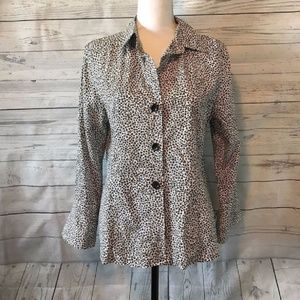 Foxcroft Wrinkle Free Fitted Animal Print Shirt