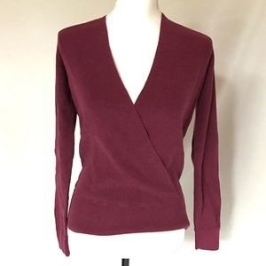 Ann Taylor Berry Mauve Pink Stretchy Wrap Sweater