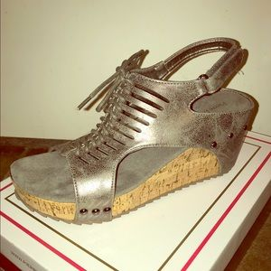 Pewter wedge sandals by Pierre Dumas