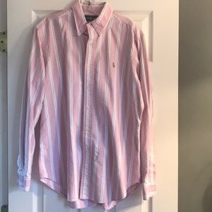 Ralph Lauren pink/blue button down shirt