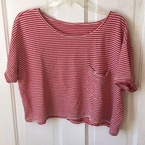 Red & white crop-top, American apparel
