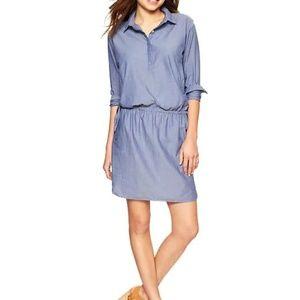 Gap Blue Drawstring Chambray Shirt Dress M