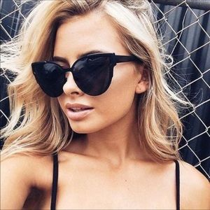 Brooke- All Black Cat Eye Chic Sunglasses