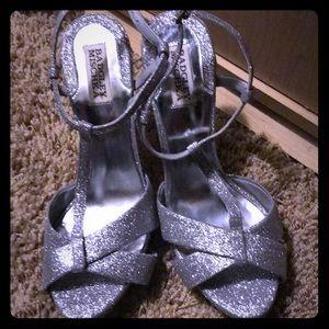 Authentic Badgley Mischka silver sparkle heels
