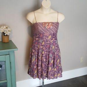 Free People Dress Size 12 Boho Embroidered Lined