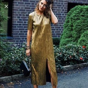 Zara gold pleated mini dress