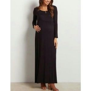 Black maxi dress medium long sleeve dress