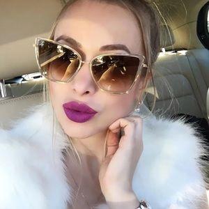 Irene- Double Frame Gold Chic Cat Eye Sunglasses