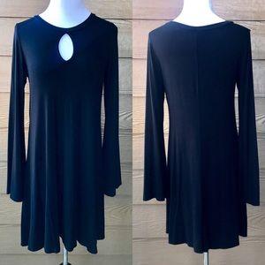 Black Keyhole Bell Long Sleeve Dress SUPER SOFT