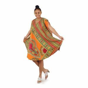 AFRICAN DASHIKI ANKARA PRINT DRESS, ORANGE