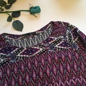 Zara | purple multi colored patterned basic top