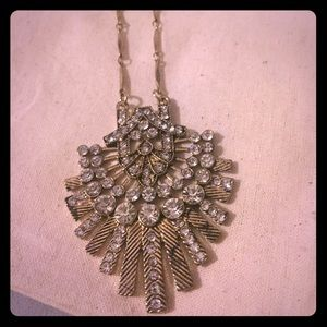 Long Art Deco statement layer necklace