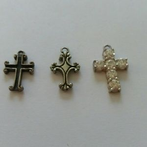 3 sterling silver tiny crosses