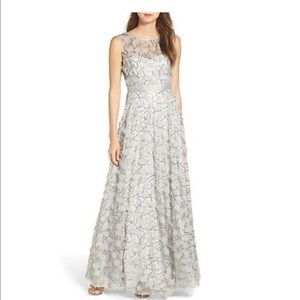 ELIZA J  Embellished Mesh Ball GOWN SILVER GRAY