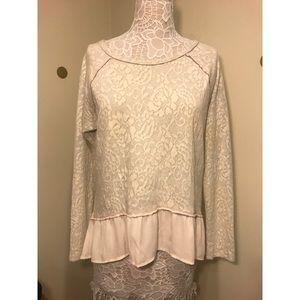 XHILARATION cream sweater with lace detailing