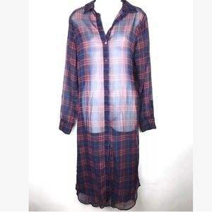 Zara Long Duster Shirt Plaid Sheer Size Medium NEW