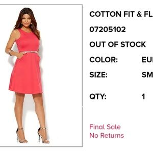NWT! New York & Co. Fit and flare pink dress. Smal