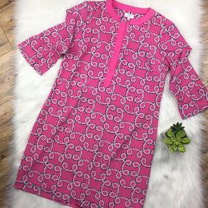 Size 8 pink shift dress ruffle sleeve