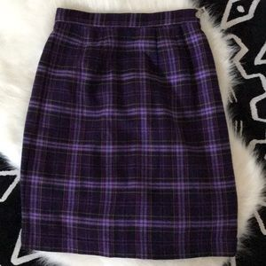 Vintage Purple Plaid Midi Skirt