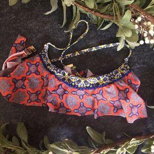 MINKPINK printed Pom Pom bikini top S