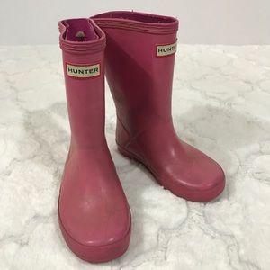 Hunter rain boot girls pink size 10 lipstick