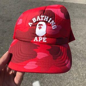 100% Authentic Bape trucker hat red used rare OG