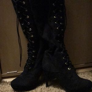 Faux suede to the knee lace up boots size 8.5