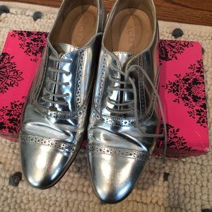J. Crew silver oxfords size 6