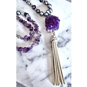 Purple Quartz Tassel & Amethyst Necklace