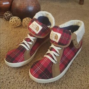 The North Face High Top Shoes Red Plaid - Rare
