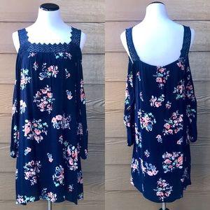 Floral Cold Shoulder Long Sleeve Dress Crochet 🌺
