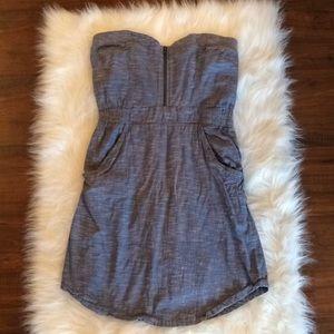 Sz L(fits M) billabong blue linen strapless dress