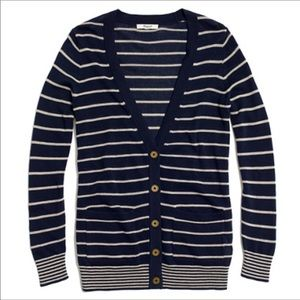 Madewell Button Front Cardigan Pockets Stripe
