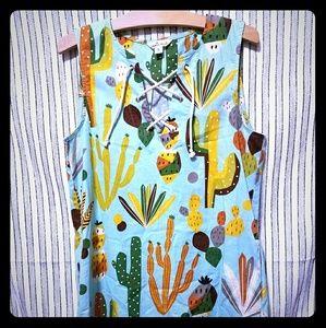 Cousin earl sleeveless cactus print dress