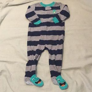 Blue and grey striped monster onesie