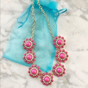 Gold and Pink Floral Statement Necklace