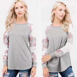 New! S-L striped with Floral sleeve long sleeve
