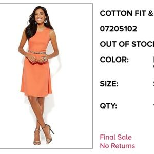 New York & Co Orange fit and flare dress.small