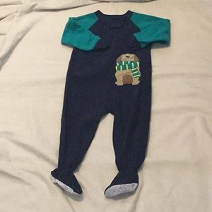 Blue and green dog onesie