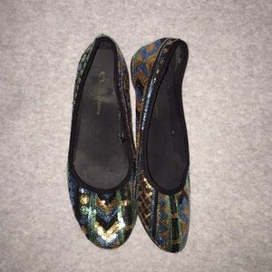 Teal, gold, black, and green sequence flats.