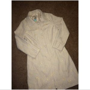 NWT Forever 21 Cream Gold Embroidered Long Coat