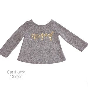 Cat & Jack Gray Magical Fuzzy Long Sleeve 12 mon