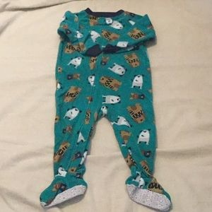 Teal and blue puppy print onesie