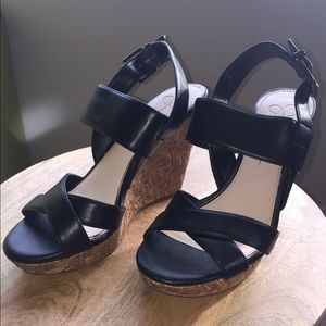 Jessica Simpson Black Leather Wedge Sandals