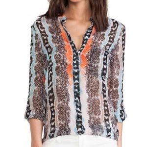 Diane Von Furstenberg Sz 2 100% Silk Sheer Top