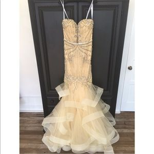 Multi tiered beaded gown